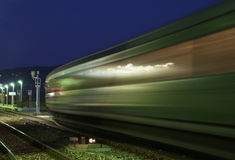 Train motion. Fast train with motion blur Stock Photo