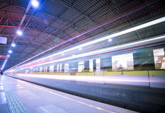 Train motion blur. The background of the high-speed train with motion blur outdoor Royalty Free Stock Photography