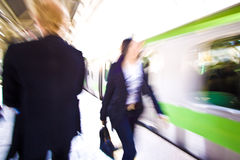 Train motion blur. A train moving through a train station in a blur Royalty Free Stock Images