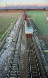 Train motion blur from above Stock Photography