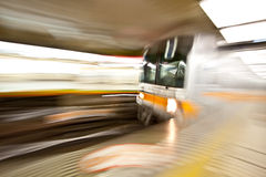 Train motion blur subway. A subway train passing by and capture with a motion blur swing in Tokyo Japan Stock Images