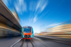Train with motion blure. Royalty Free Stock Photography