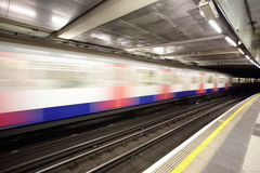 Train in motion at London Royalty Free Stock Photo