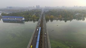 Train in Motion at The Metro Bridge through the Dnipro river in Kiev. Ukraine.  stock footage