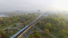 Train in Motion at The Metro Bridge through the Dnipro river in Kiev. Ukraine.  stock video footage