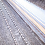 Train with motion on rails. Train with motion blur on rails Royalty Free Stock Photos