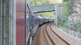 Train in motion. On route. Passengers transportation stock video footage