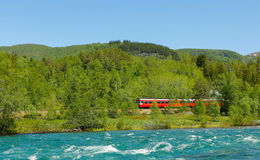 Train in mountains. Crossing train in mountains in Norway Royalty Free Stock Photos