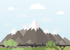 Train in the mountains Royalty Free Stock Photo