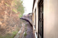 Train on the move in Thailand, with motion blur Stock Images