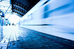 Train move  on wet platform Royalty Free Stock Photo