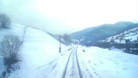 Train move winter forest mountain stock video
