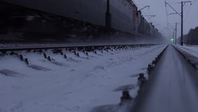 Train Moves On Railroad. Trans-Siberian Railway stock footage
