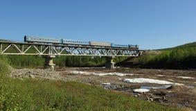 Train moving bridge Royalty Free Stock Photography