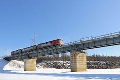 Train moving bridge Stock Images