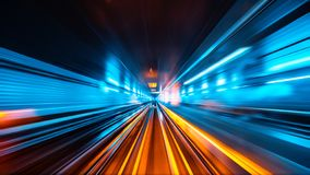 Train moving fast in tunnel royalty free stock photos