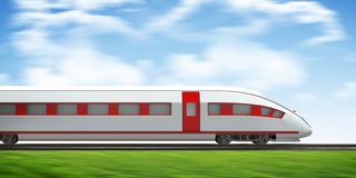 Train moving forward on rail-tracks, side view Royalty Free Stock Photo