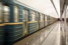 Train moving at subway station Royalty Free Stock Photography