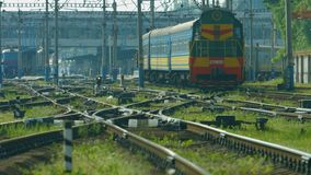 Train moving to the station. stock footage
