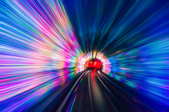 Train moving in Tunnel -Abstract View Royalty Free Stock Image