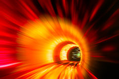 Train moving in Tunnel -Abstract View Stock Photo