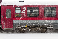 Train of the National Railway Company (CFR) who arrived during a snow storm Royalty Free Stock Photos