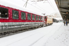 Train of the National Railway Company (CFR) who arrived during a snow storm Stock Images