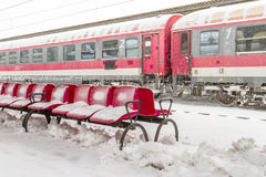 Train of the National Railway Company (CFR) who arrived during a snow storm Royalty Free Stock Photo