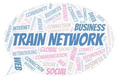 Train Network word cloud. Wordcloud made with text only vector illustration