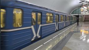Train on the new metro station Troparevo. Moscow, Russia - January 06 2015: Train on the new metro station Troparevo stock video