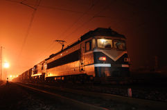 Train at night. Chinese electric train at night