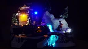 Christmas train and Christmas lights, snow town stock video footage