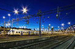 Train at night. Stock Photos