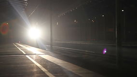 Train night transport. Train station with people and train stock footage