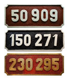 Train number collection. Old metallic Train number collection Royalty Free Stock Images