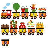 Train with number of garden elements. Vector illustration, eps royalty free illustration