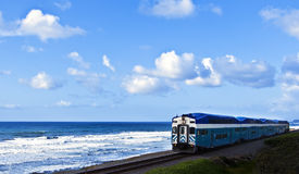 Train on the Ocean Cliff, California Royalty Free Stock Photos