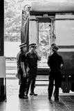 Train officials working at Chiangmai Railway Station Stock Image