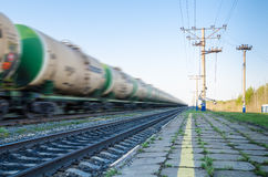 Train with oil tanks moving. Royalty Free Stock Images