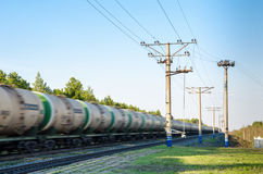 Train with oil tanks moving. Royalty Free Stock Photography