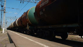 Train With Oil Tanks Moving stock video