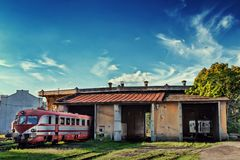 Train at old depot outdoor Stock Photo