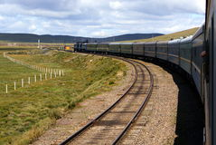 Train On Trans-Siberian Railway In Landscape Of Mo Royalty Free Stock Photos