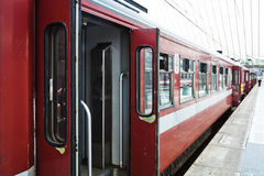 Train with open doors. Train stands at a railway station with open doors Royalty Free Stock Photos