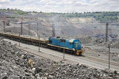 Train on the opencast Stock Photo
