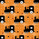 Train on an orange background of beautiful seamless vector pattern Stock Photo
