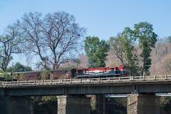 Train ou rail de mesure étroite avec la locomotive diesel photographie stock libre de droits