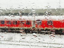 Train outside the window after Stock Image