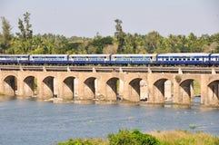 Train over a bridge in Srirangapatna Stock Photos