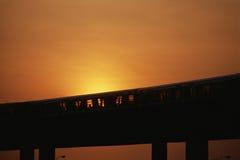 Train on overpass Stock Photo